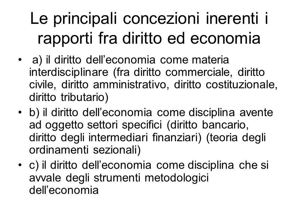 Le principali concezioni inerenti i rapporti fra diritto ed economia a) il diritto dell'economia come materia interdisciplinare (fra diritto commercia