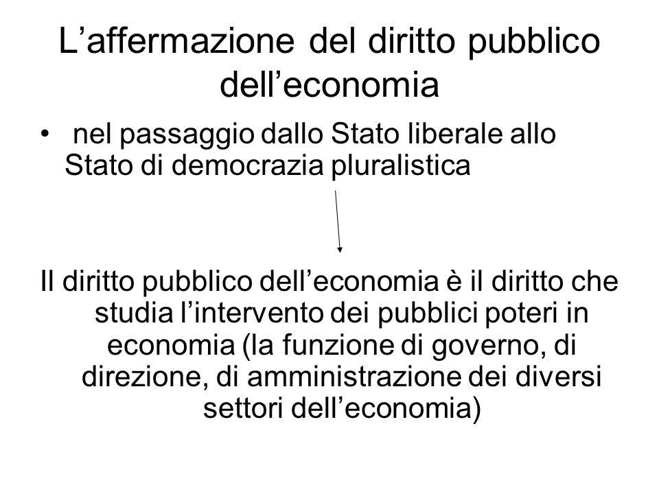 L'affermazione del diritto pubblico dell'economia nel passaggio dallo Stato liberale allo Stato di democrazia pluralistica Il diritto pubblico dell'ec