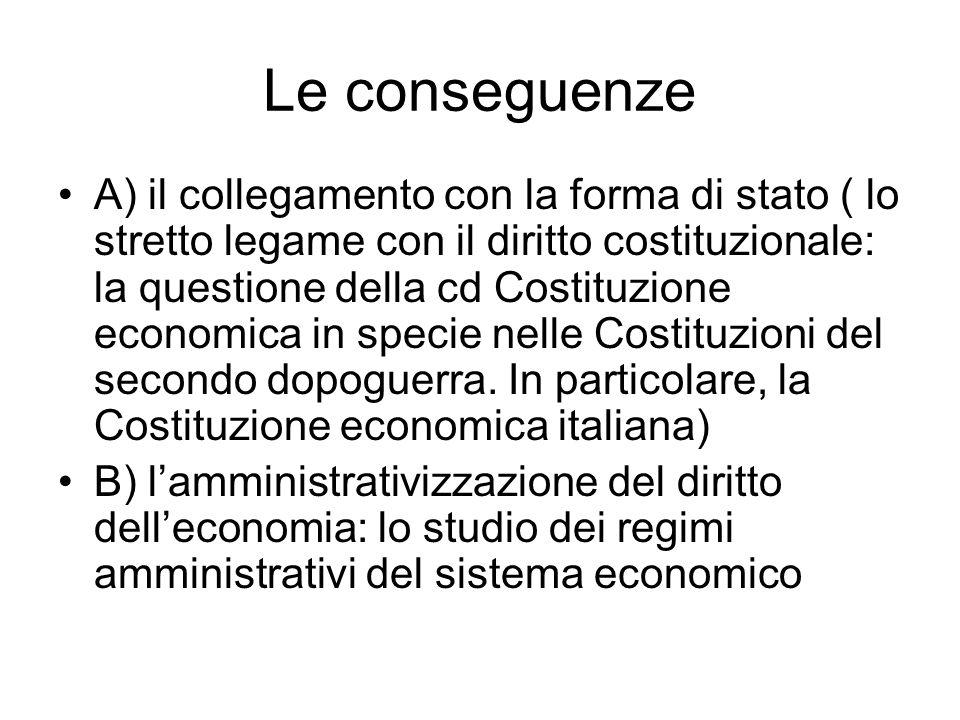 Le conseguenze A) il collegamento con la forma di stato ( lo stretto legame con il diritto costituzionale: la questione della cd Costituzione economic