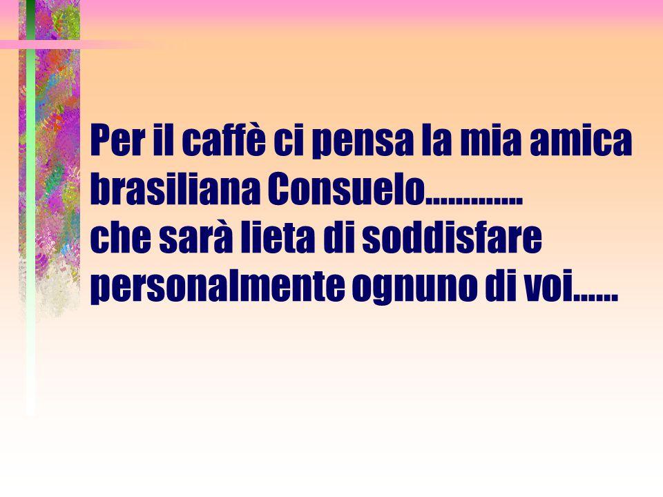 Per il caffè ci pensa la mia amica brasiliana Consuelo………….