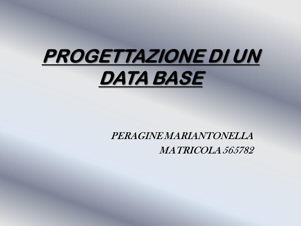 PROGETTAZIONE DI UN DATA BASE PERAGINE MARIANTONELLA MATRICOLA 565782