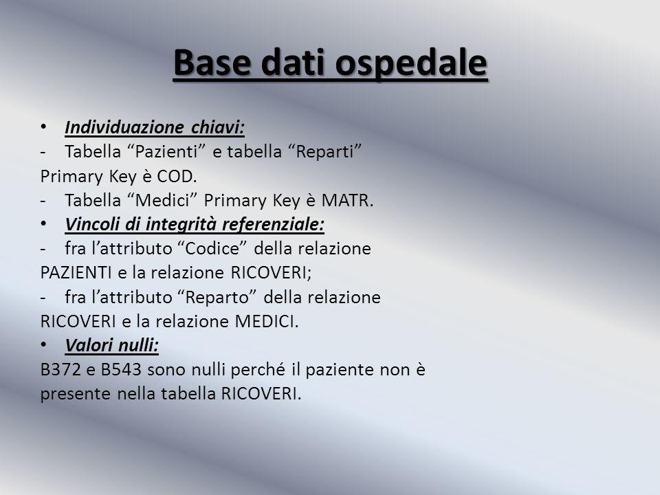 Base dati ospedale Individuazione chiavi: -Tabella Pazienti e tabella Reparti Primary Key è COD.