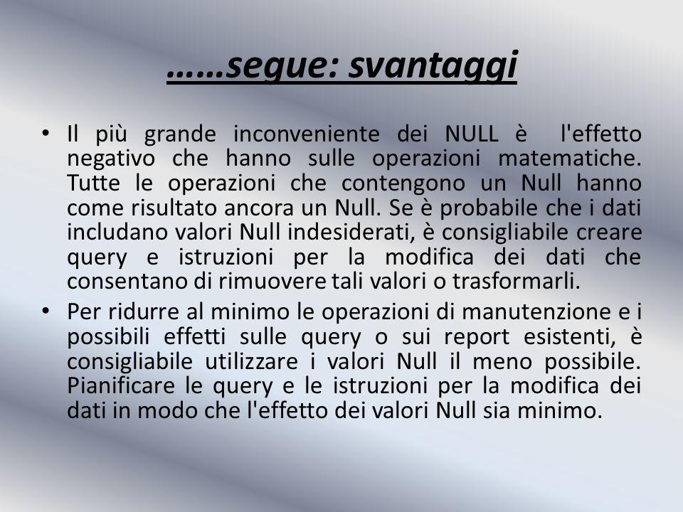 ……segue: svantaggi Il più grande inconveniente dei NULL è l effetto negativo che hanno sulle operazioni matematiche.