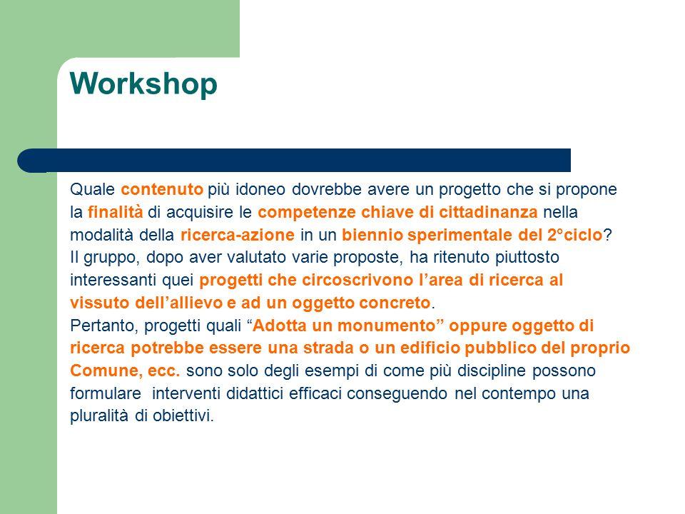 Workshop Quale contenuto più idoneo dovrebbe avere un progetto che si propone la finalità di acquisire le competenze chiave di cittadinanza nella modalità della ricerca-azione in un biennio sperimentale del 2°ciclo.