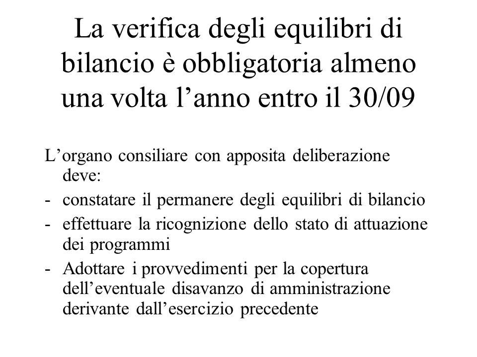 La verifica degli equilibri di bilancio è obbligatoria almeno una volta l'anno entro il 30/09 L'organo consiliare con apposita deliberazione deve: -constatare il permanere degli equilibri di bilancio -effettuare la ricognizione dello stato di attuazione dei programmi -Adottare i provvedimenti per la copertura dell'eventuale disavanzo di amministrazione derivante dall'esercizio precedente