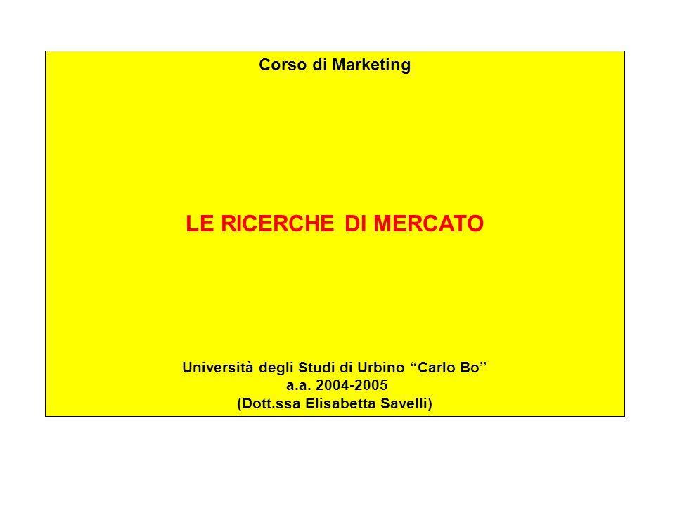 Corso di Marketing LE RICERCHE DI MERCATO Università degli Studi di Urbino Carlo Bo a.a.