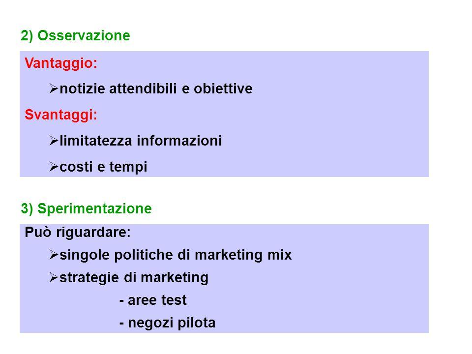 2) Osservazione Vantaggio:  notizie attendibili e obiettive Svantaggi:  limitatezza informazioni  costi e tempi 3) Sperimentazione Può riguardare:  singole politiche di marketing mix  strategie di marketing - aree test - negozi pilota