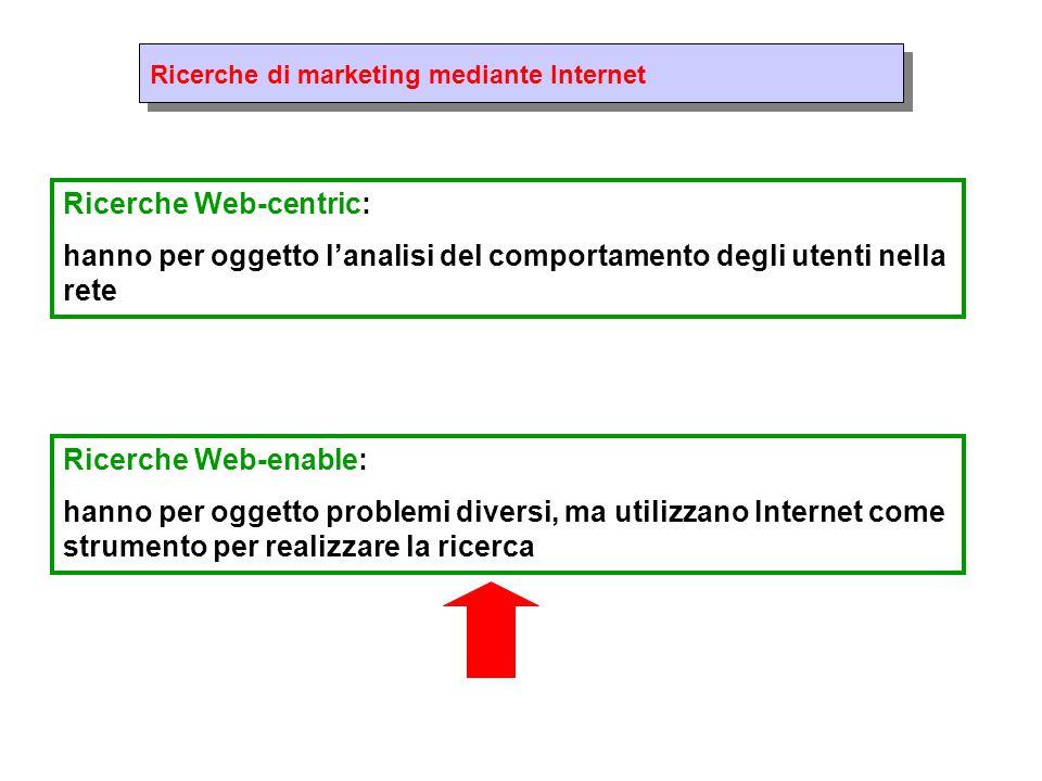 Ricerche di marketing mediante Internet Ricerche Web-centric: hanno per oggetto l'analisi del comportamento degli utenti nella rete Ricerche Web-enable: hanno per oggetto problemi diversi, ma utilizzano Internet come strumento per realizzare la ricerca