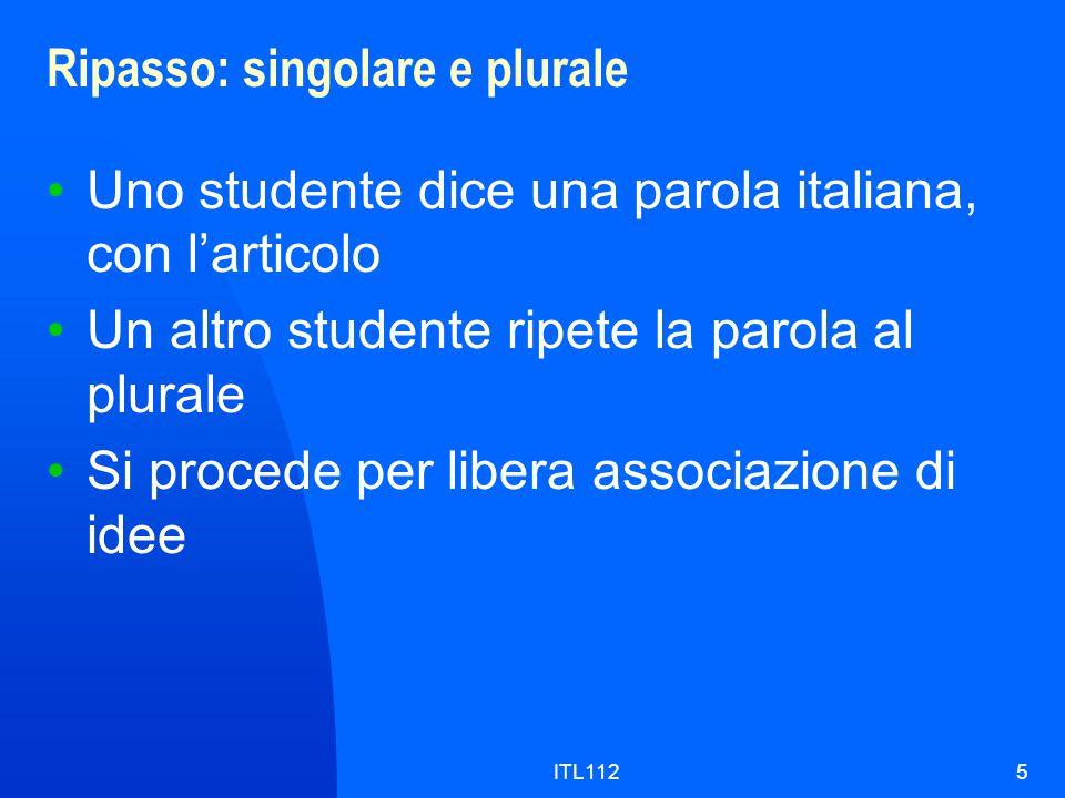 ITL1125 Ripasso: singolare e plurale Uno studente dice una parola italiana, con l'articolo Un altro studente ripete la parola al plurale Si procede per libera associazione di idee