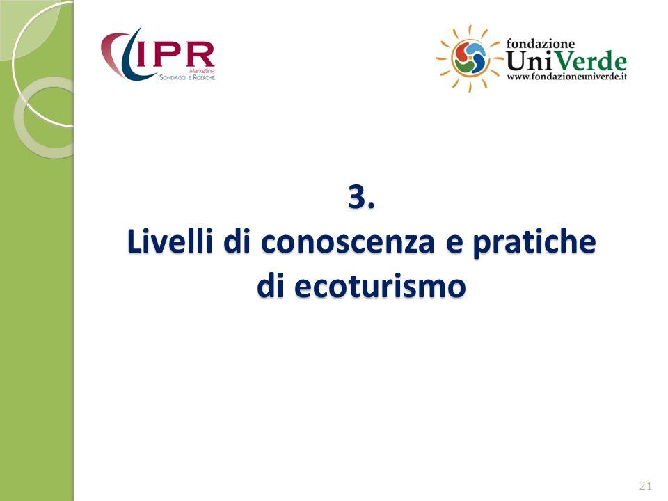 3. Livelli di conoscenza e pratiche di ecoturismo 21