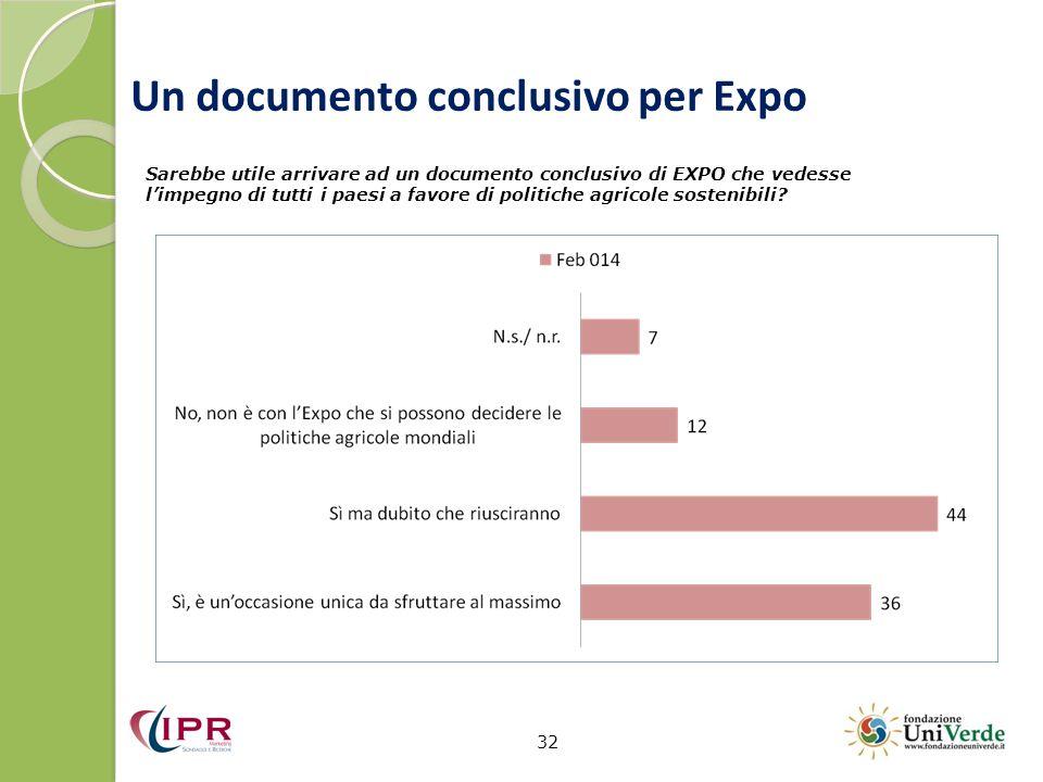 Un documento conclusivo per Expo 32 Sarebbe utile arrivare ad un documento conclusivo di EXPO che vedesse l'impegno di tutti i paesi a favore di politiche agricole sostenibili