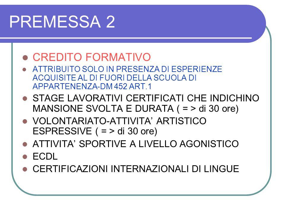 PREMESSA 2 IL CREDITO FORMATIVO E' ATTRIBUITO SOLO SE 1.