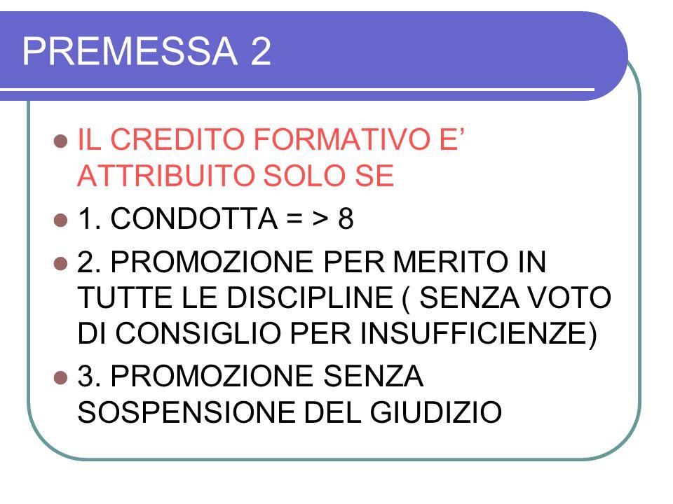 PREMESSA 3 CREDITO SCOLASTICO INTERNO SI PUO' ATTRIBUIRE SE 1.
