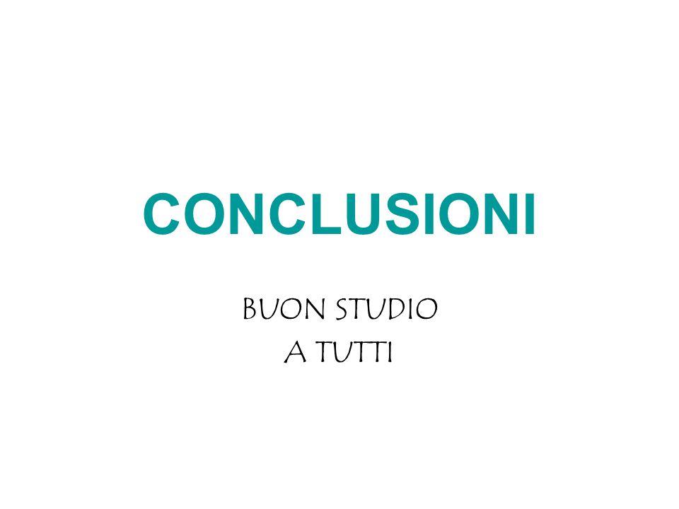 CONCLUSIONI BUON STUDIO A TUTTI