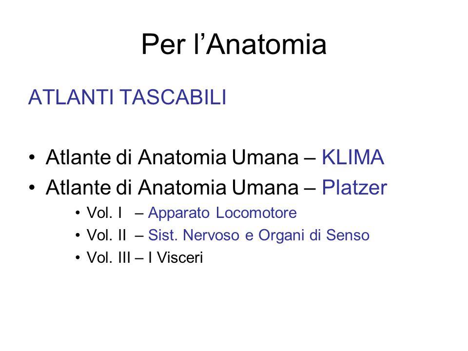 Per l'Anatomia ATLANTI TASCABILI Atlante di Anatomia Umana – KLIMA Atlante di Anatomia Umana – Platzer Vol.