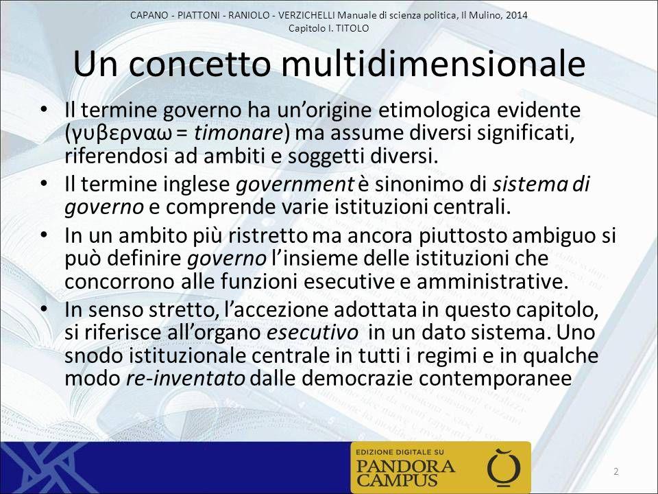 CAPANO - PIATTONI - RANIOLO - VERZICHELLI Manuale di scienza politica, Il Mulino, 2014 Capitolo I. TITOLO Un concetto multidimensionale Il termine gov