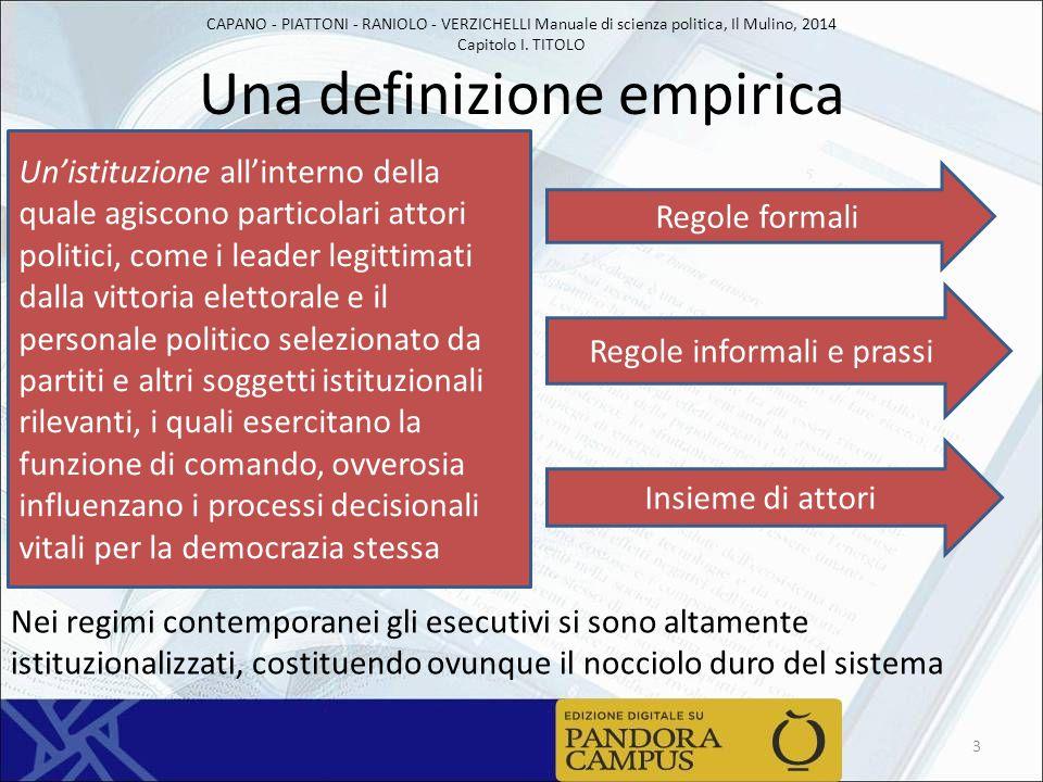 CAPANO - PIATTONI - RANIOLO - VERZICHELLI Manuale di scienza politica, Il Mulino, 2014 Capitolo I. TITOLO Una definizione empirica 3 Un'istituzione al
