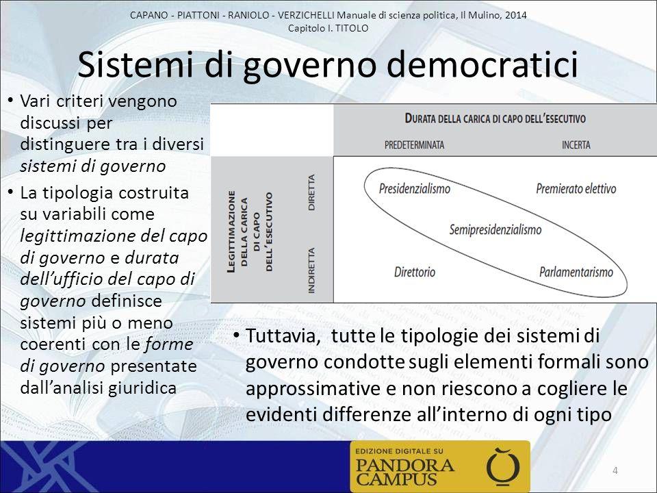 CAPANO - PIATTONI - RANIOLO - VERZICHELLI Manuale di scienza politica, Il Mulino, 2014 Capitolo I. TITOLO Sistemi di governo democratici Vari criteri