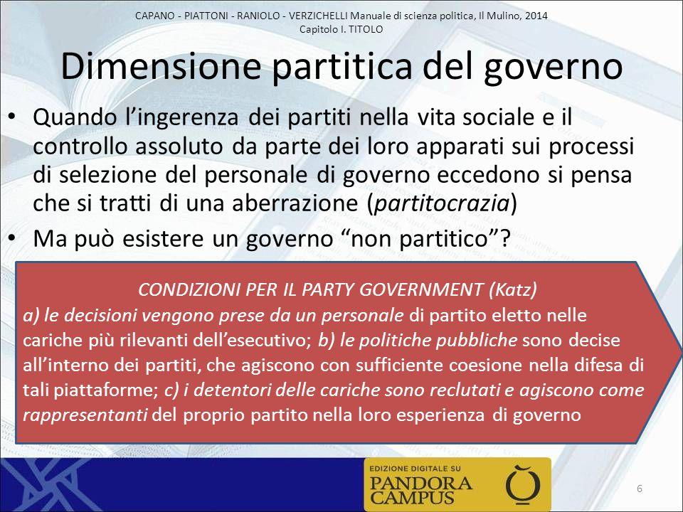 CAPANO - PIATTONI - RANIOLO - VERZICHELLI Manuale di scienza politica, Il Mulino, 2014 Capitolo I. TITOLO Dimensione partitica del governo Quando l'in