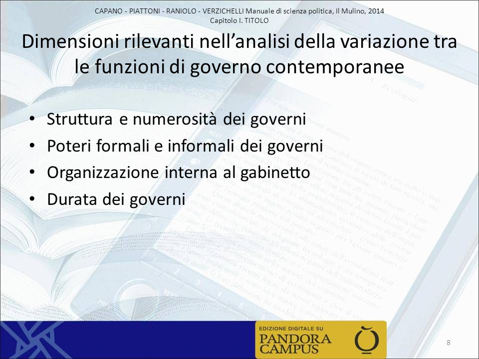 CAPANO - PIATTONI - RANIOLO - VERZICHELLI Manuale di scienza politica, Il Mulino, 2014 Capitolo I. TITOLO Dimensioni rilevanti nell'analisi della vari