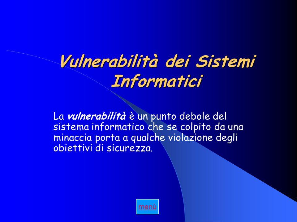 Vulnerabilità dei Sistemi Informatici La vulnerabilità è un punto debole del sistema informatico che se colpito da una minaccia porta a qualche violazione degli obiettivi di sicurezza.