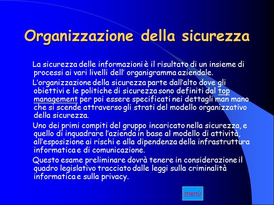 Organizzazione della sicurezza La sicurezza delle informazioni è il risultato di un insieme di processi ai vari livelli dell' organigramma aziendale.