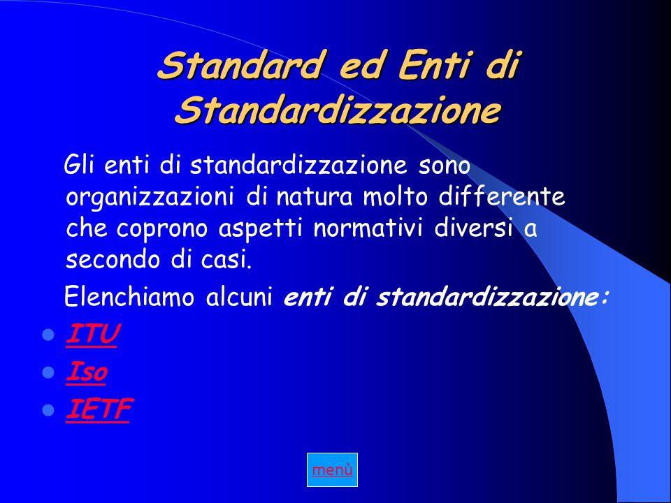 Standard ed Enti di Standardizzazione Gli enti di standardizzazione sono organizzazioni di natura molto differente che coprono aspetti normativi diversi a secondo di casi.