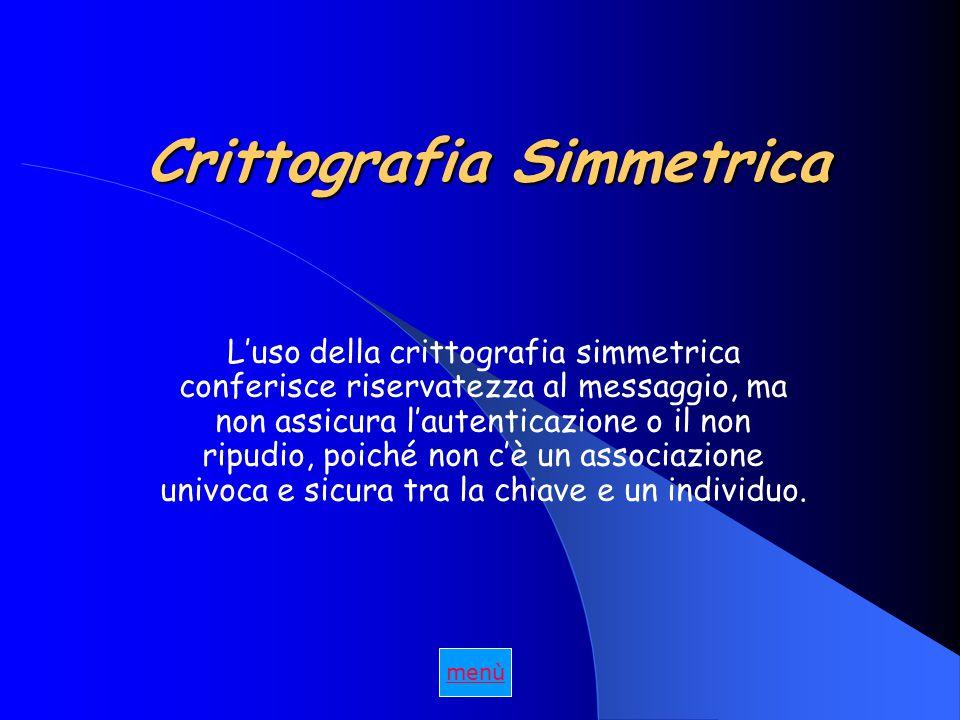 Crittografia Simmetrica L'uso della crittografia simmetrica conferisce riservatezza al messaggio, ma non assicura l'autenticazione o il non ripudio, poiché non c'è un associazione univoca e sicura tra la chiave e un individuo.