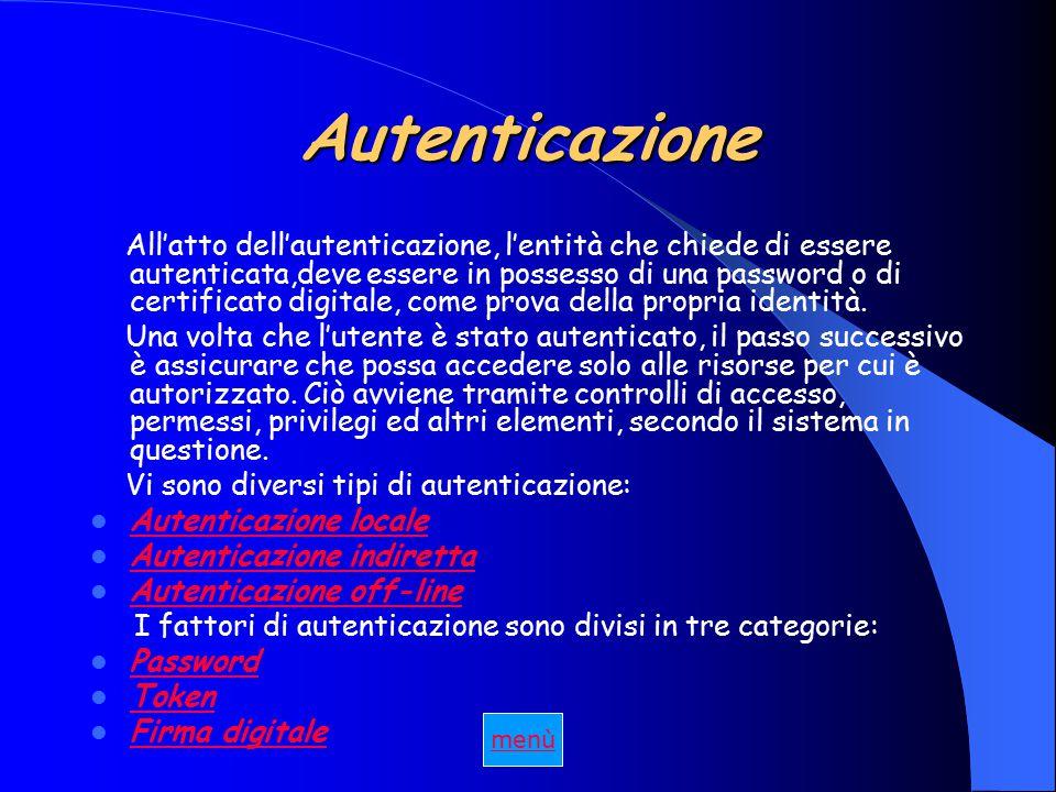 Autenticazione All'atto dell'autenticazione, l'entità che chiede di essere autenticata,deve essere in possesso di una password o di certificato digitale, come prova della propria identità.