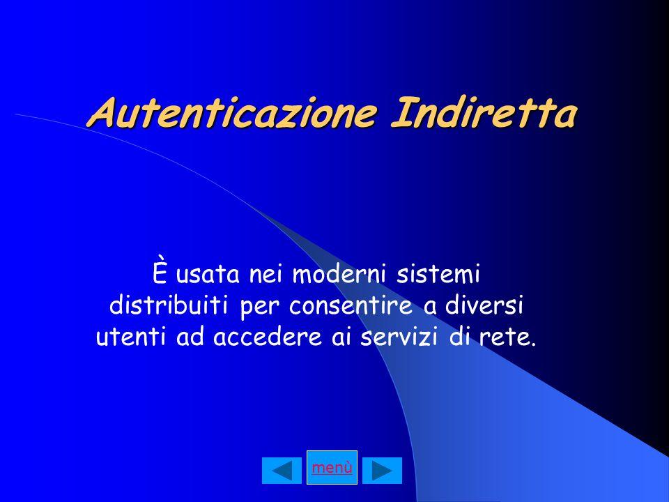 Autenticazione Indiretta È usata nei moderni sistemi distribuiti per consentire a diversi utenti ad accedere ai servizi di rete.