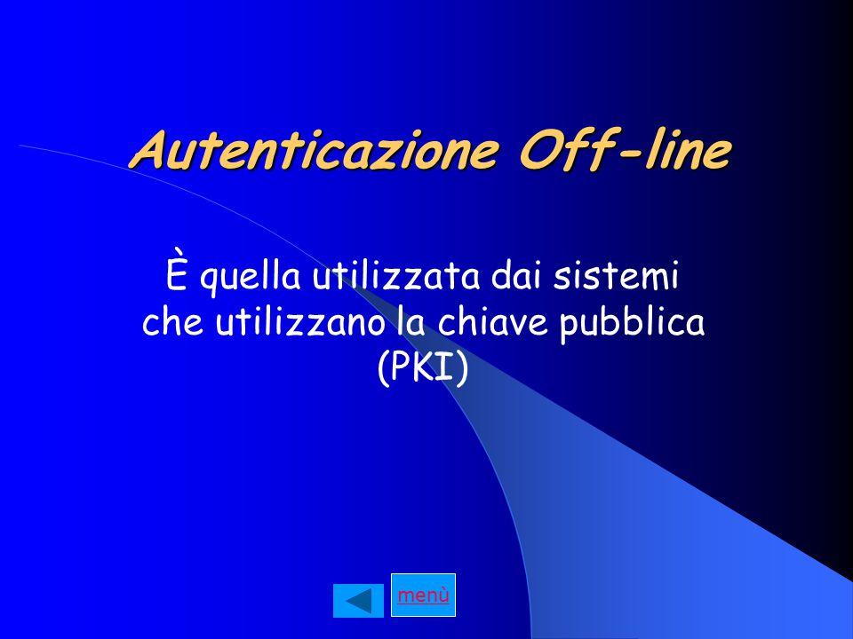 Autenticazione Off-line È quella utilizzata dai sistemi che utilizzano la chiave pubblica (PKI)