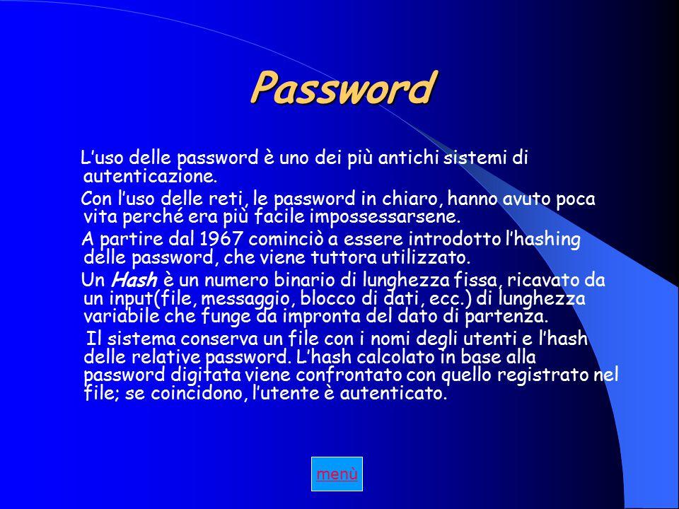 Password L'uso delle password è uno dei più antichi sistemi di autenticazione.