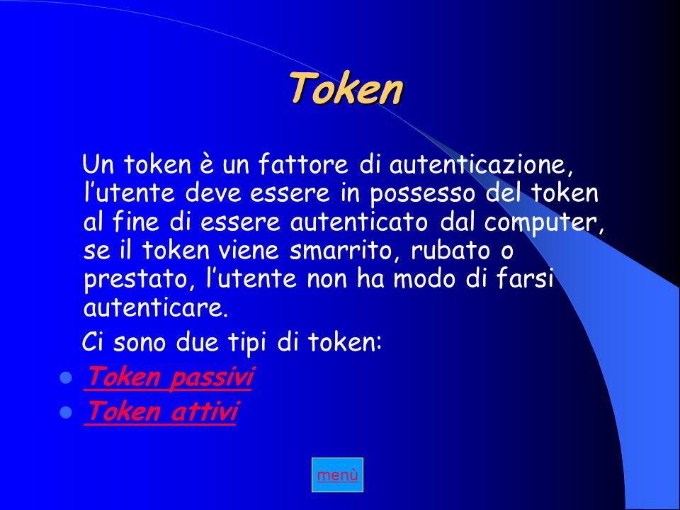 Token Un token è un fattore di autenticazione, l'utente deve essere in possesso del token al fine di essere autenticato dal computer, se il token viene smarrito, rubato o prestato, l'utente non ha modo di farsi autenticare.