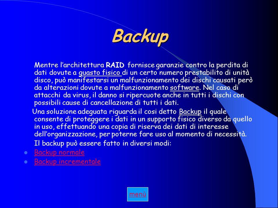 Backup Mentre l'architettura RAID fornisce garanzie contro la perdita di dati dovute a guasto fisico di un certo numero prestabilito di unità disco, può manifestarsi un malfunzionamento dei dischi causati però da alterazioni dovute a malfunzionamento software.