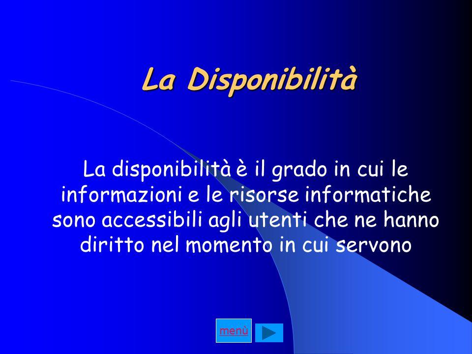 La Disponibilità La disponibilità è il grado in cui le informazioni e le risorse informatiche sono accessibili agli utenti che ne hanno diritto nel momento in cui servono menù