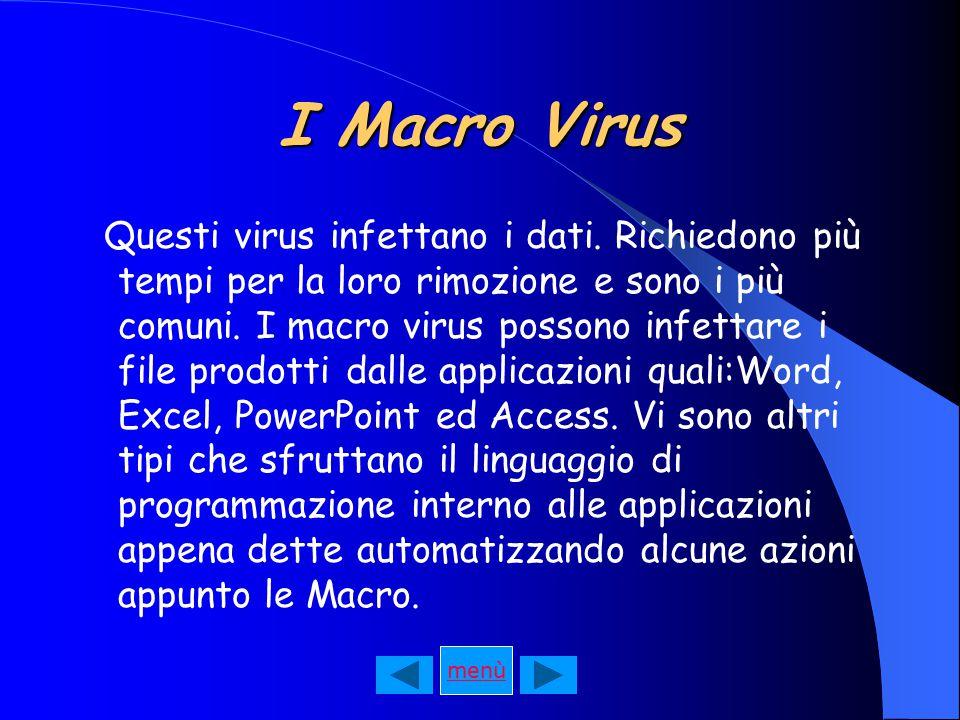 I Macro Virus Questi virus infettano i dati.