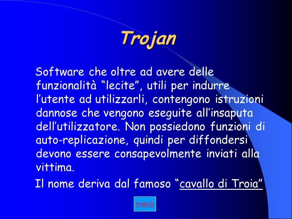 Trojan Software che oltre ad avere delle funzionalità lecite , utili per indurre l'utente ad utilizzarli, contengono istruzioni dannose che vengono eseguite all'insaputa dell'utilizzatore.