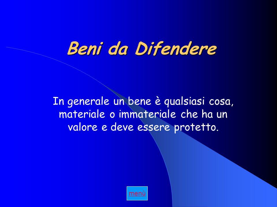 Beni da Difendere In generale un bene è qualsiasi cosa, materiale o immateriale che ha un valore e deve essere protetto.
