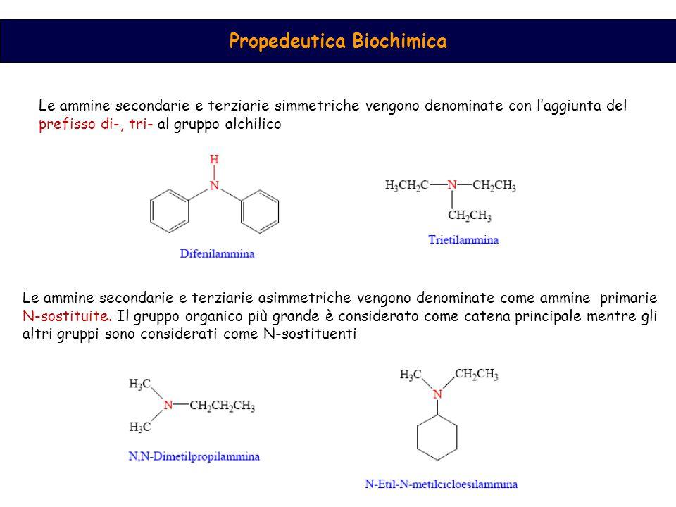 Propedeutica Biochimica Le ammine secondarie e terziarie simmetriche vengono denominate con l'aggiunta del prefisso di-, tri- al gruppo alchilico Le ammine secondarie e terziarie asimmetriche vengono denominate come ammine primarie N-sostituite.