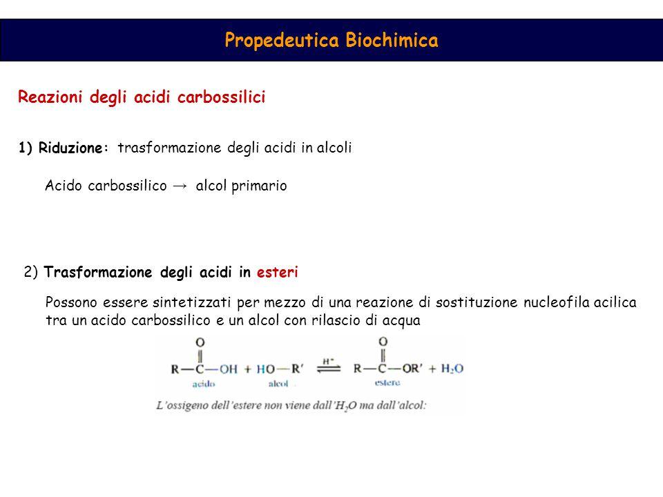 Reazioni degli acidi carbossilici 1) Riduzione: trasformazione degli acidi in alcoli Acido carbossilico → alcol primario 2) Trasformazione degli acidi in esteri Possono essere sintetizzati per mezzo di una reazione di sostituzione nucleofila acilica tra un acido carbossilico e un alcol con rilascio di acqua