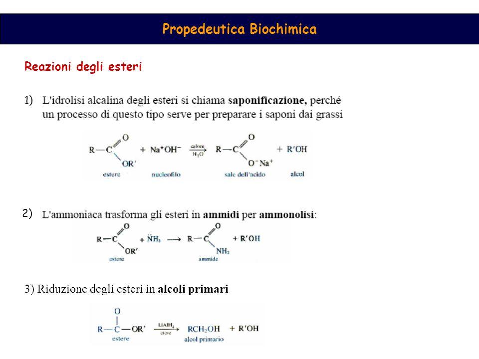 Propedeutica Biochimica Reazioni degli esteri 1) 2) 3) Riduzione degli esteri in alcoli primari