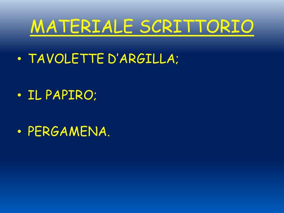 MATERIALE SCRITTORIO TAVOLETTE D'ARGILLA; IL PAPIRO; PERGAMENA.