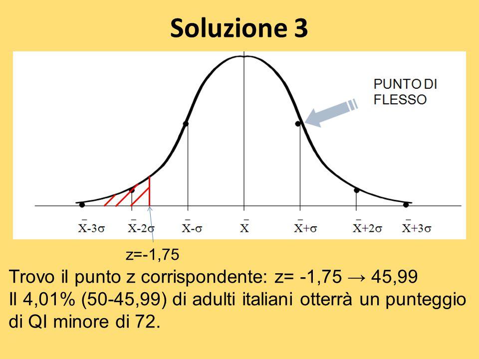 Soluzione 3 Trovo il punto z corrispondente: z= -1,75 → 45,99 Il 4,01% (50-45,99) di adulti italiani otterrà un punteggio di QI minore di 72. z=-1,75