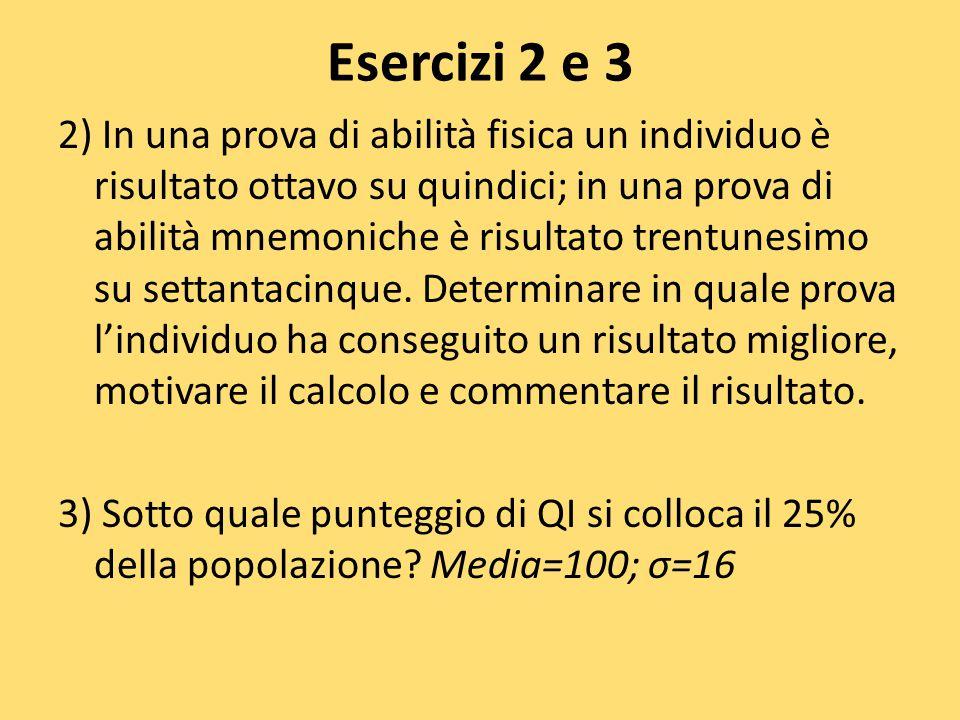 Esercizi 2 e 3 2) In una prova di abilità fisica un individuo è risultato ottavo su quindici; in una prova di abilità mnemoniche è risultato trentunes