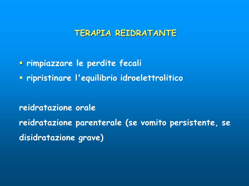 TERAPIA REIDRATANTE   rimpiazzare le perdite fecali  ripristinare l'equilibrio idroelettrolitico reidratazione orale reidratazione parenterale (se