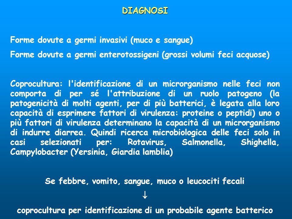 DIAGNOSI Forme dovute a germi invasivi (muco e sangue) Forme dovute a germi enterotossigeni (grossi volumi feci acquose) Coprocultura: l'identificazio