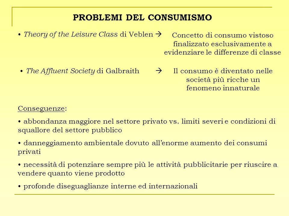 Conseguenze: abbondanza maggiore nel settore privato vs. limiti severi e condizioni di squallore del settore pubblico danneggiamento ambientale dovuto