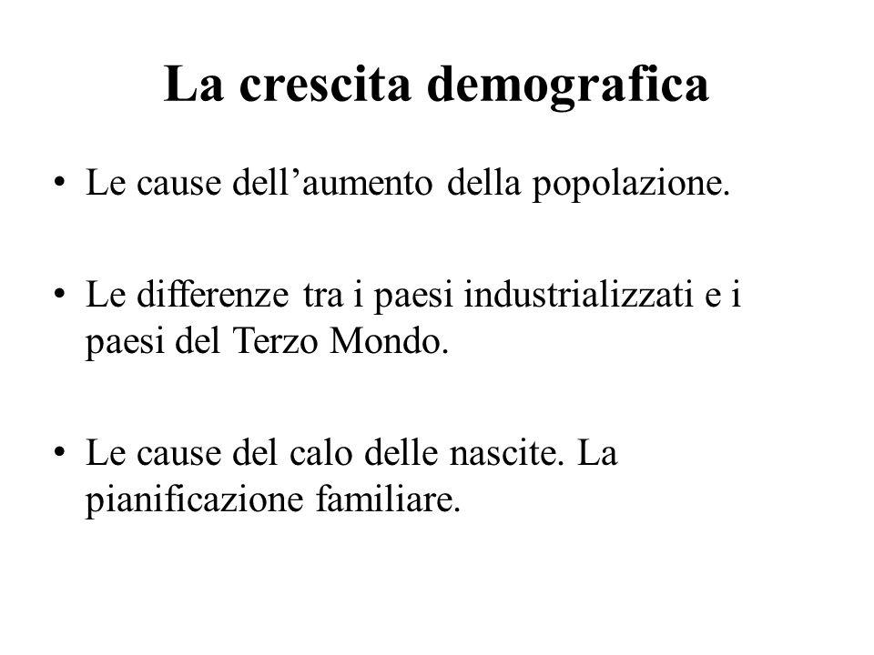 La crescita demografica Le cause dell'aumento della popolazione. Le differenze tra i paesi industrializzati e i paesi del Terzo Mondo. Le cause del ca