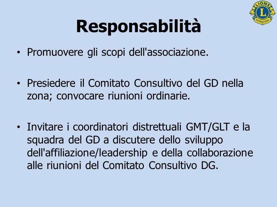 Responsabilità Promuovere gli scopi dell'associazione. Presiedere il Comitato Consultivo del GD nella zona; convocare riunioni ordinarie. Invitare i c