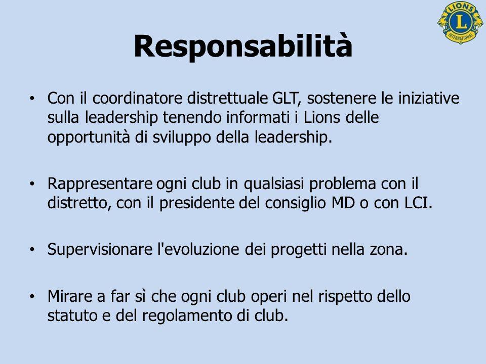 Con il coordinatore distrettuale GLT, sostenere le iniziative sulla leadership tenendo informati i Lions delle opportunità di sviluppo della leadershi